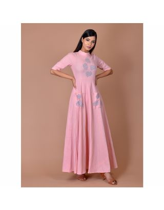 Pink Block Printed Maxi Dress