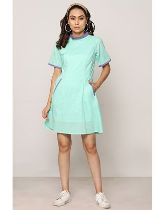 Blue Pleated Collar Dress