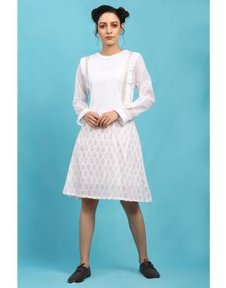 White Printed Side Pleated Dress