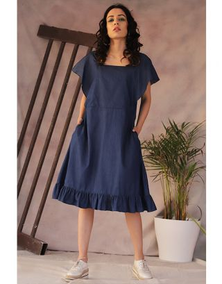 Denim Cotton Frill Dress