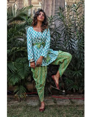 White and Blue Top with Green Ankle Dhoti
