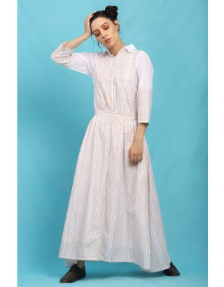White Block Pinted Maxi Dress