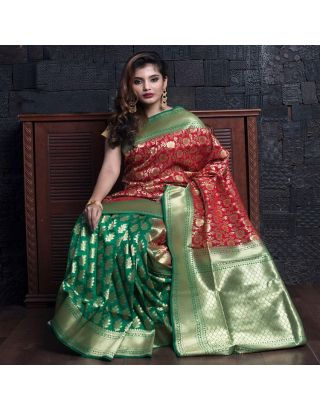 Blood Red And Green With Minakari Saree