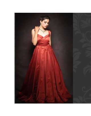 Red Pleated Satin Gown