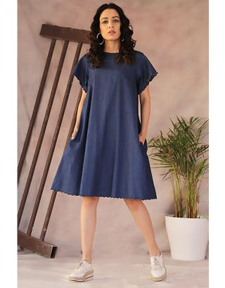 Denim Scalloped Straight Dress