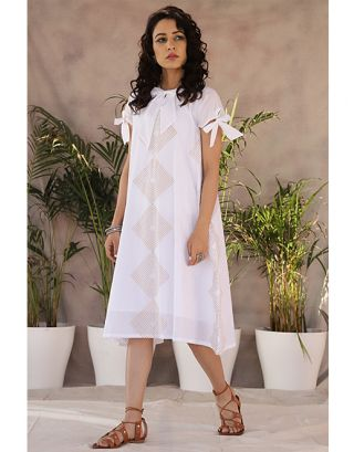 White Knotted A-Line Dress