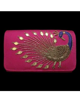Beautiful Peacock Clutch with Long Sling Chain