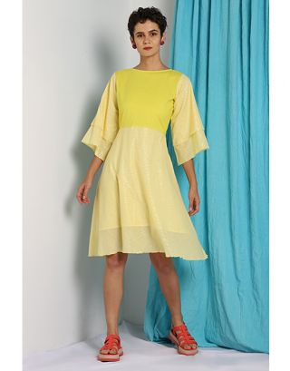 Yellow Zari Embroidered Dress