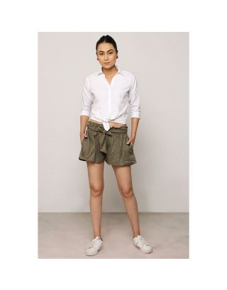 Khaki Green Waist Tie-Up Shorts