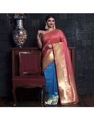 Baby Pink And Sky Blue With Zari Saree