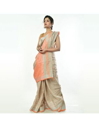 Grey Khadi Pink Checkered Saree