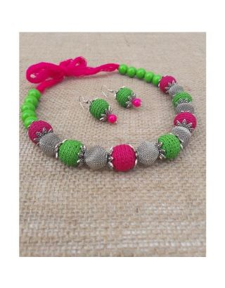 Crochet Pink and Green Silver Necklace