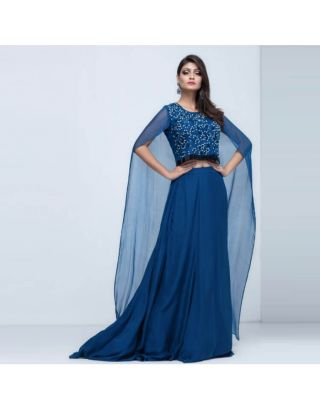 Niagara Blue Crop With Cape and Skirt