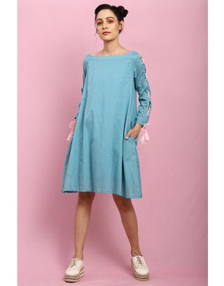 Turquoise Tie-Up Sleeves Dress