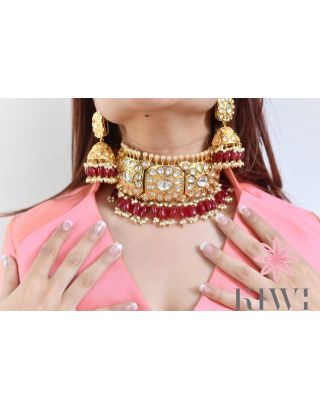 Red & Golden Choker Set