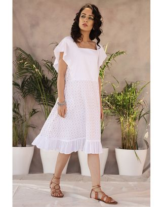 White Cotton Frill Dress