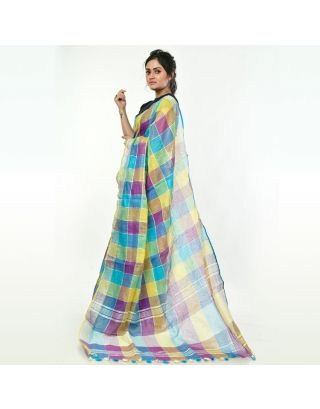 Multi Color Linen Checkered Saree