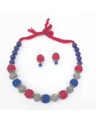 Crochet Blue and Red Silver Necklace