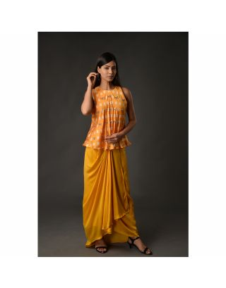 Yellow Drape Skirt Set