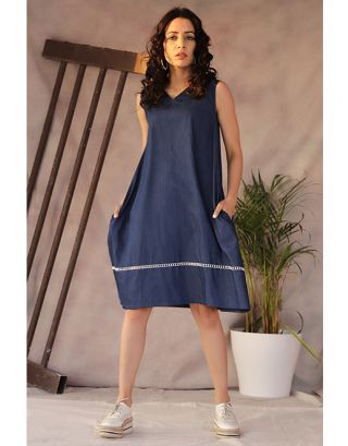 Blue Collared Tunic Dress