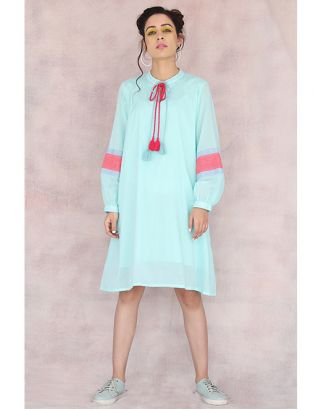 Turquoise Baloon Sleeve Dress