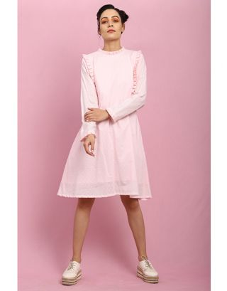 Baby Pink Side Pleated Dress