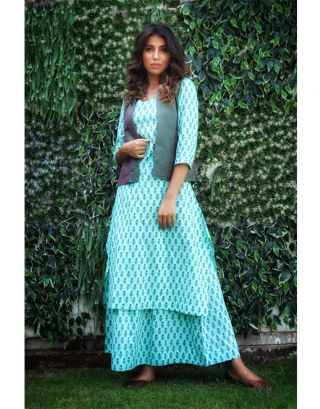 Turquoise Blue Kurta Skirt with Jacket