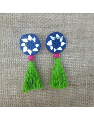 Green and Blue Tassels Buttons