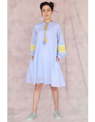 Light Blue Baloon Sleeve Dress