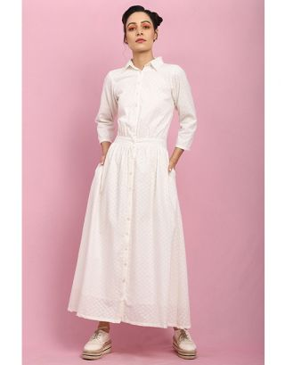 Off-White Collar Buttoned Maxi