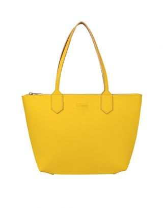 Yellow small leather tote bag