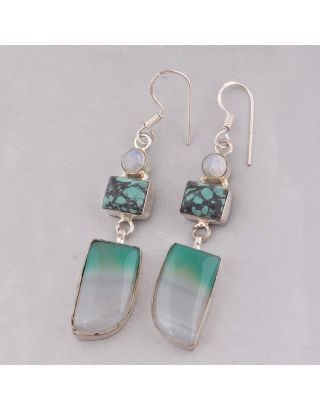 Blue Turquoise Alloy Earring