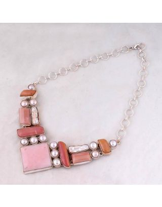 Pink Opal Pearl Silver Necklace