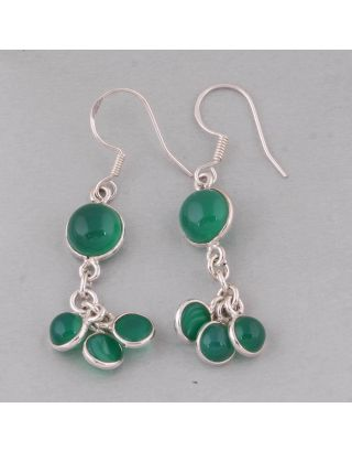 Green Round Jade Silver Earring