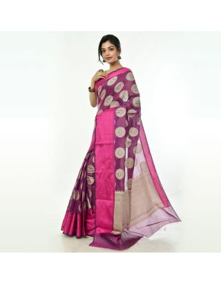 Purple Banarasi Handloom Saree