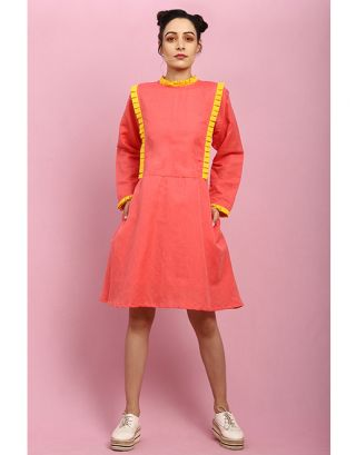 Coral Side Pleated Dress