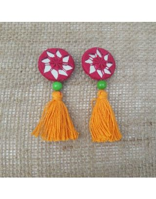 Pink and Orange Tassels Buttons
