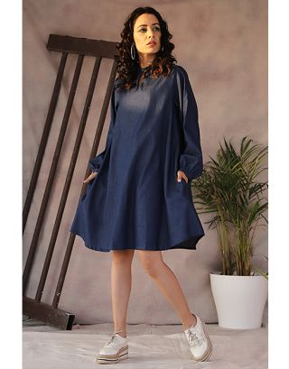 Denim Baloon Sleeve Dress