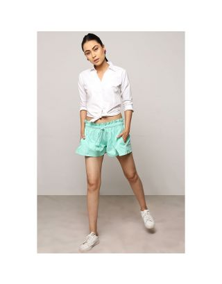 Turquoise Blue Waist Tie-Up Shorts