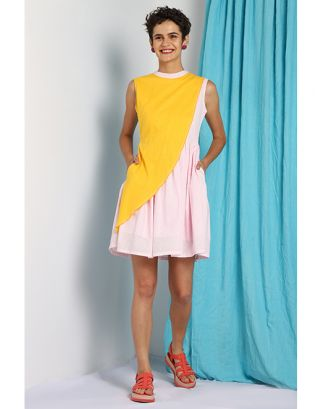 Baby Pink & Yellow Overlap Dress