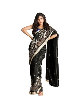 Black Bishnupuri Saree With Cutwork