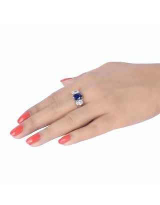 Blue Oval Zirconia Ring