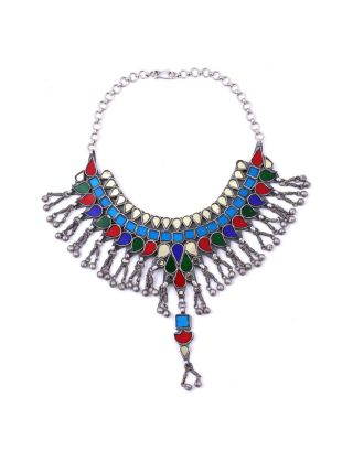 Multicolor Ghungroo Silver Necklace