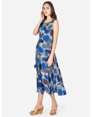 Blue Printed Woven Ethnic Dress