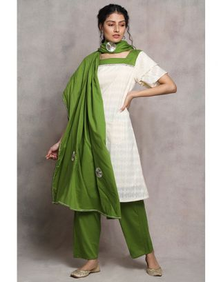 White and Green Suit Set
