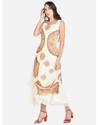 White Printed Georgette Ethnic Dress