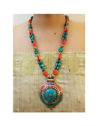 Turquoise Necklace with Nepal Pendant