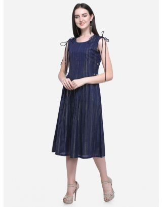 Blue Drawstring Pleated Dress