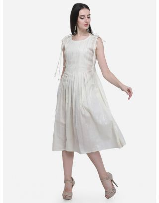 White Drawstring Pleated Dress