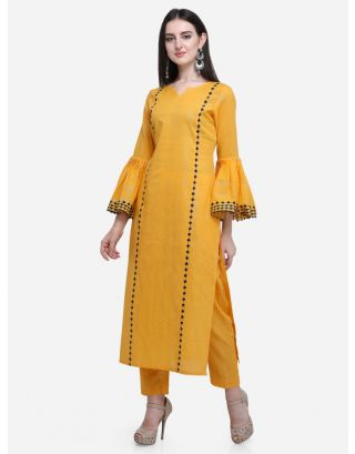 Yellow Flared Sleeves Kurta